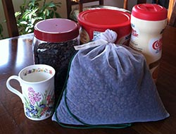 Author's Coffee Mug, Bulk Coffee Beans, and Bulk Non-Dairy Creamer