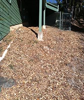 Author's Wood Chips Spread on Steep Hill on Side of House