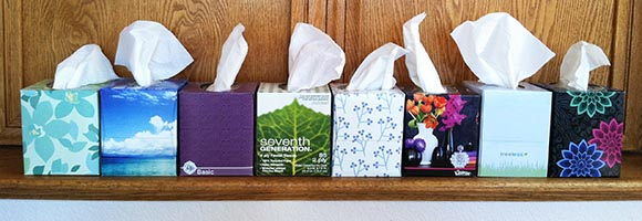 8 Boxes of Facial Tissues for Author's Facial Tissue Experiment