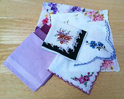 Author's Collection of 8 Second Hand Cloth Handkerchiefs