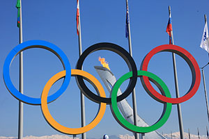 2014 Sochi Olympics - Olympic Rings and Torch at Olympic Park