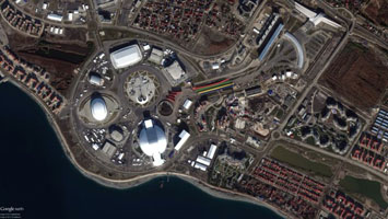 2014 Sochi Olympics - Satellite View of Coastal Cluster on Black Sea - Photo: NASA / DigitalGlobe