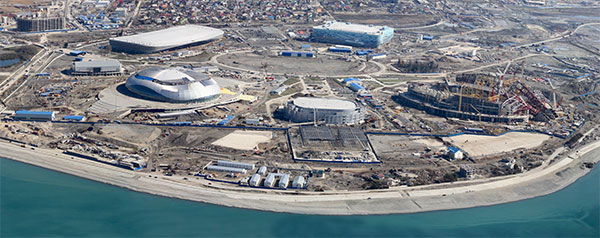 Sochi Olympic Coastal Cluster During Construction in 2012 - Photo: Sochi 2014 Organizing Committee