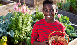Kid in Garden at Academy for Global Citizenship - Photo: USDA NOP