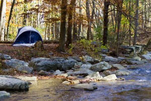 Camping Tent by Stream