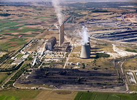 Coal Power Plant with Piles of Coal