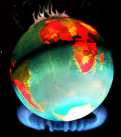 Earth Globe over Flames Depicting Global Warming, Climate Change