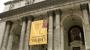 New York Public Library with the Splendor of the Word Banner