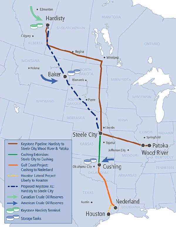 TransCanada Keystone Pipeline System Map 2014-02-25