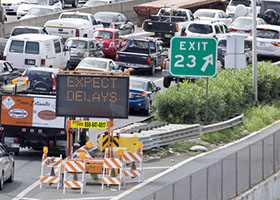Road Construction Traffic Jam