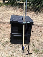 Compost Bin, Circle Hoe, and Aerator