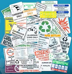 Confusing Recycling Label Collage - Image: Recycle Across America