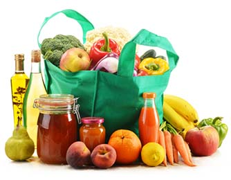 Reusable Shopping Bag Filled with Healthy Food