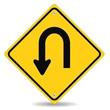 Yellow U-Turn Sign
