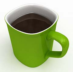Green Coffee Mug Containing Black Coffee