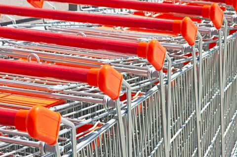 Lined Up Shopping Carts for Christmas Shopping