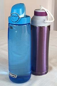 A blue and purple reusable water bottle