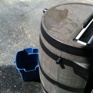 Our Rain Barrel with a Plastic Bucket