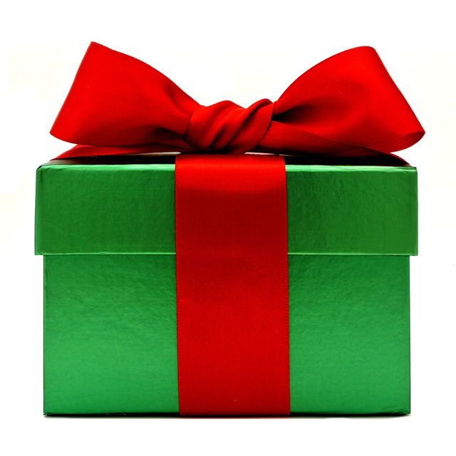 Green Christmas Gift Box with Red Ribbon and Bow