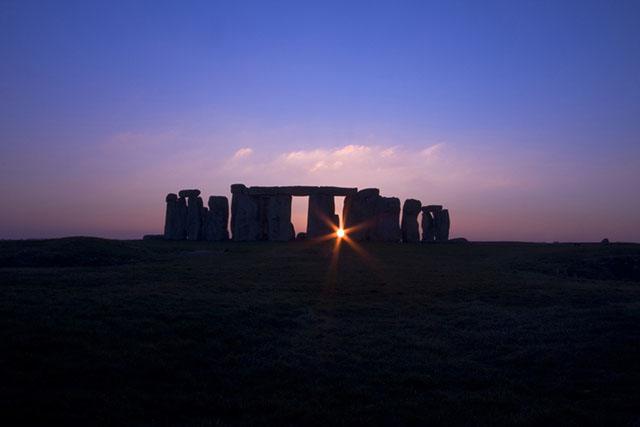 Stonehenge in Wiltshire, England at Sunset during the Winter Solstice