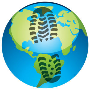 Footprint on Earth Globe - Carbon Footprint