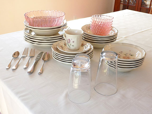 Author's Dishes, Glasses, and Flatware after Vinegar Cleaning