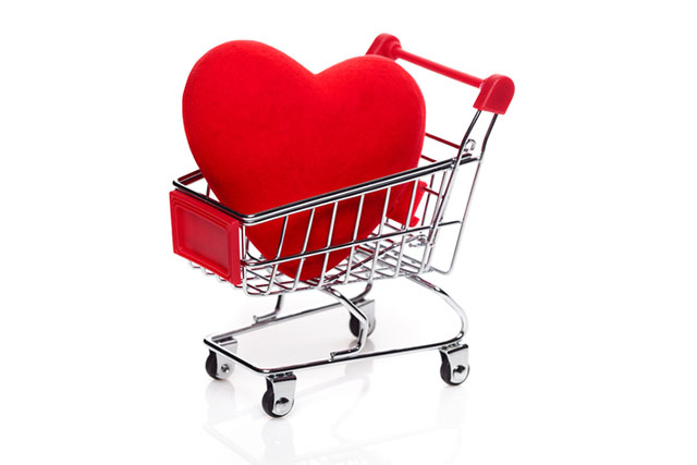 Valentine's Day Red Heart in Shopping Basket