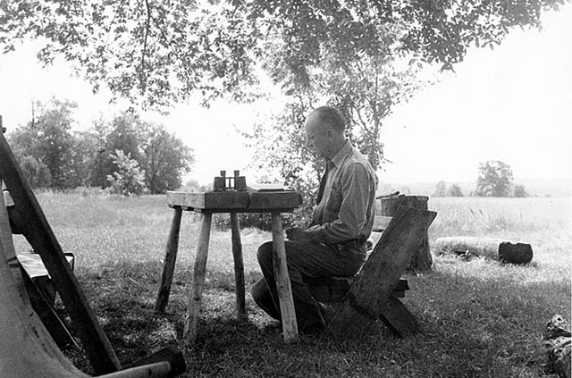 Aldo Leopold Preparing a Journal Note at the Shack in Sauk County, WI in 1946