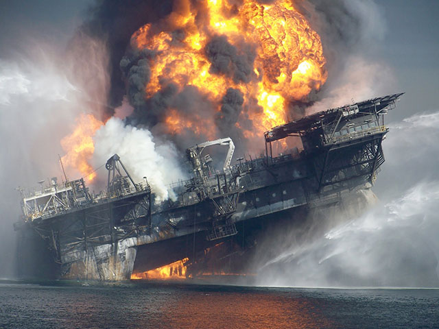 BP Deepwater Horizon Oil Drilling Platform on Fire in the Gulf of Mexico in April 2010