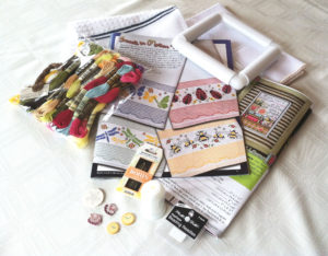 Materials forTwo Cross-Stitch Projects Bought on Vacation