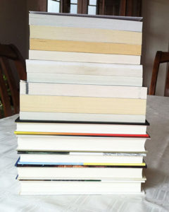I pulled these 14 books from my bookcase to represent the books I bought on vacation that got lost in transit.