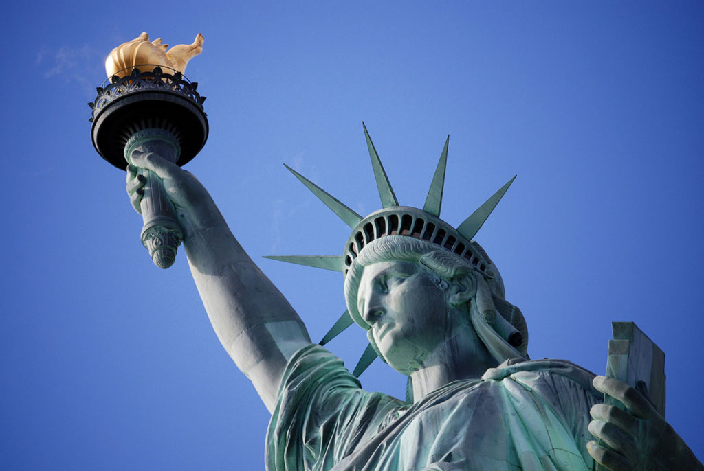 Statue of Liberty Holding Torch and Tablet of Law