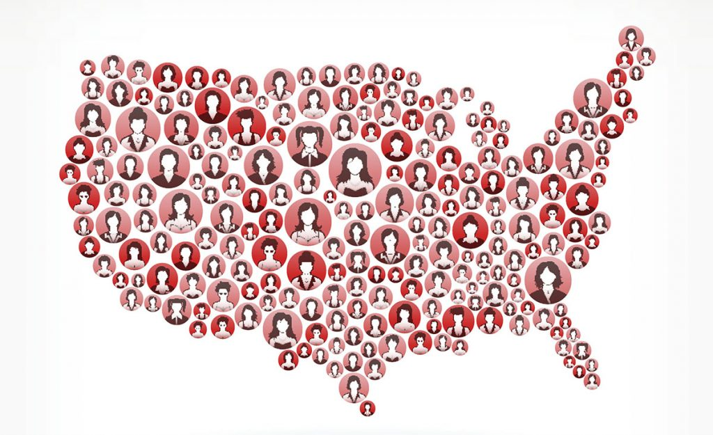 Portraits of Women Forming a Map of the United States - Breast Cancer Awareness