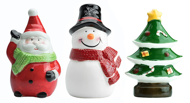 Ceramic Santa Claus, Snowman, and Christmas Tree Figurines