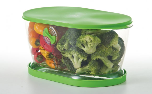 Refrigerator Produce Storage Container Filled with Peppers and Broccoli - Progressive International