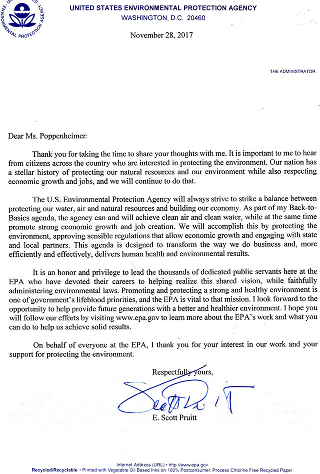 2017-11-28 EPA Administrator Pruitt Response to Breast Cancer Awareness Month Letter