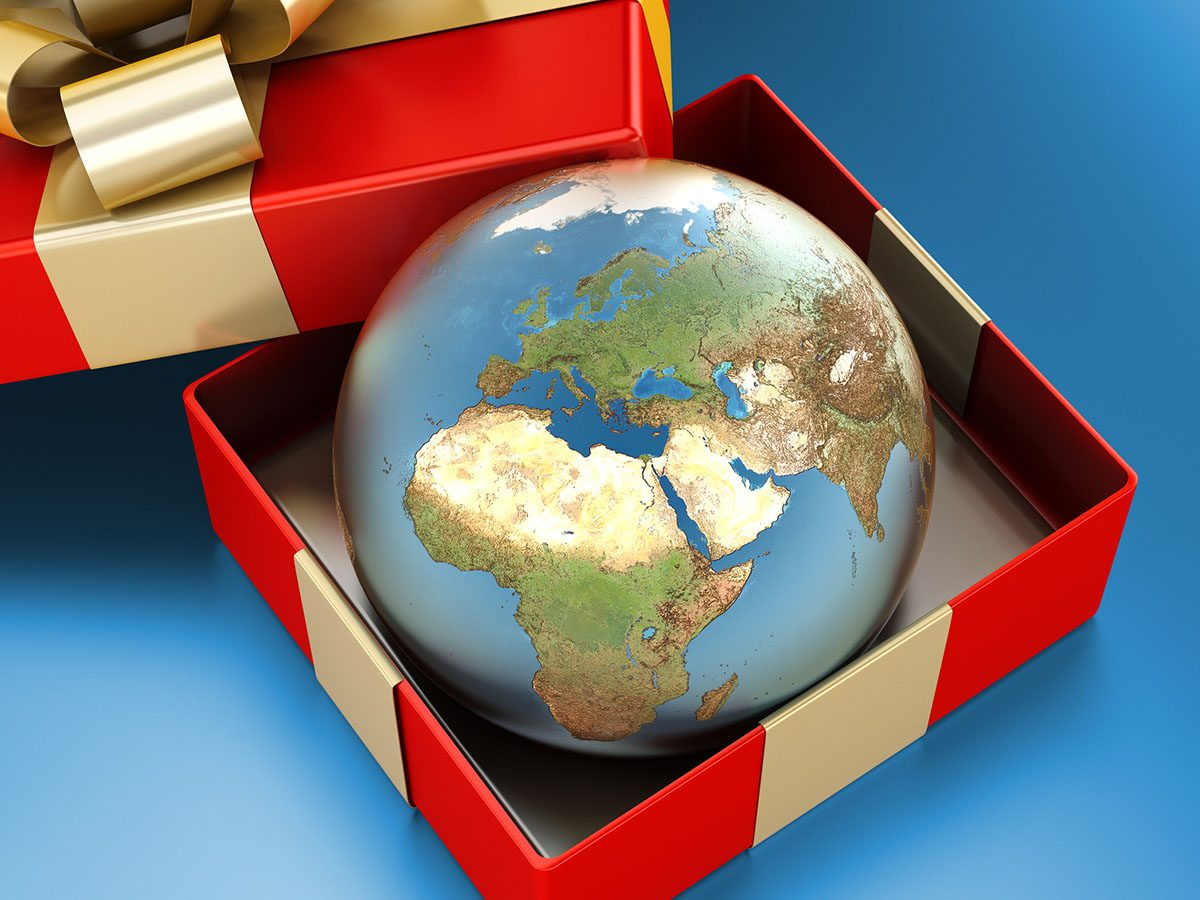 Earth Globe in Red Gift Box with Gold Ribbon
