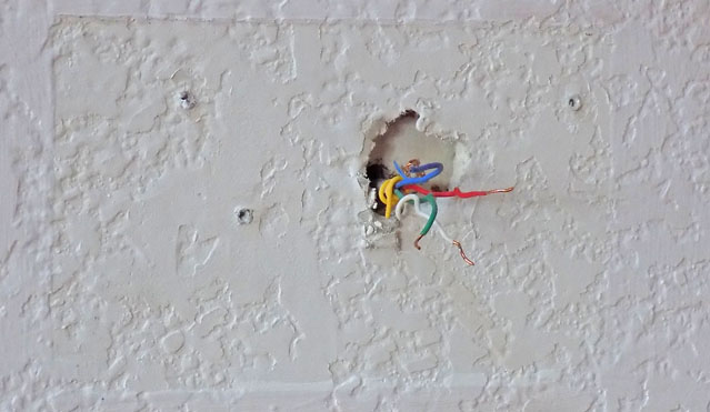 wall after removal of thermostat with wires sticking out   u2013 green groundswell