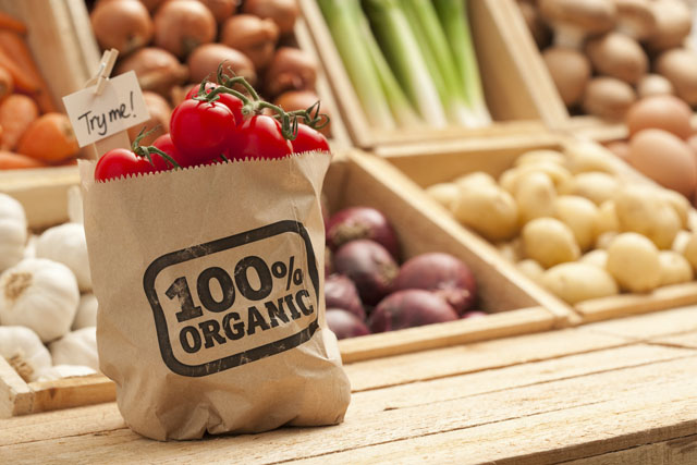 Organic Tomatoes in a Paper Bag with Fresh Produce in the Background