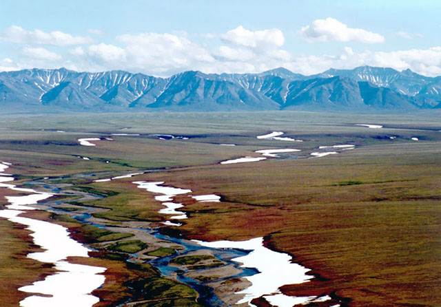Arctic National Wildlife Refuge Coastal Plain Looking Toward Brooks Range Mountains - Photo Credit USFWS
