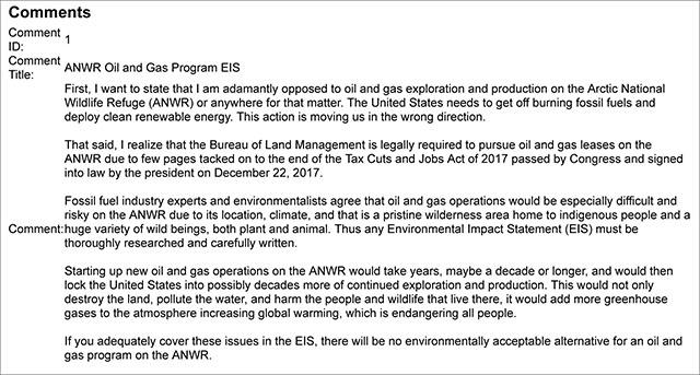 BLM ANWR Coastal Plain Oil and Gas Program EIS Notice Public Comment
