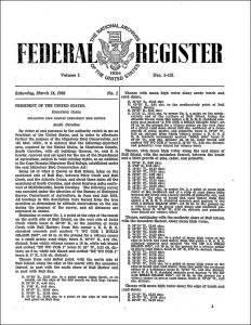 Federal Register, Volume 1, No. 1, March 14, 1936