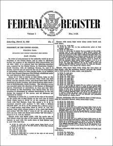 Federal Register, Volume 1, No. 1, March 14, 1936
