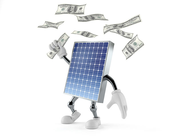 Solar Panel Character Grasping 100 Dollar Bills