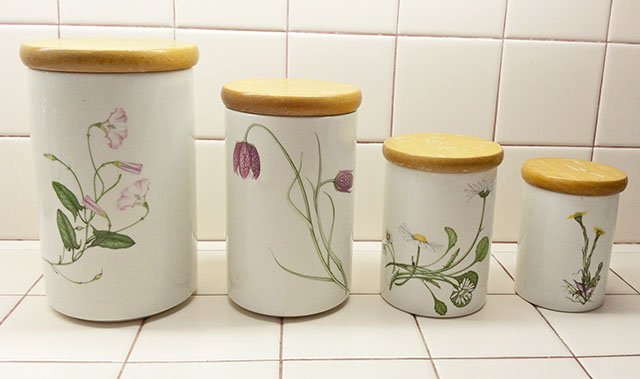 Kitchen Canister Set with Botanical Flower Illustrations