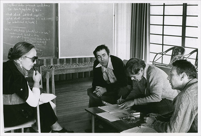 Maxine Singer, Norton Zinder, Sydney Brenner, and Paul Berg at Asilomar Conference on rDNA in 1975