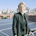 The Reverend Canon Sally Bingham with Rooftop Solar Panels