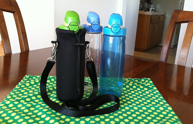 Three Reusable Water Bottles with a Bottle Carrier