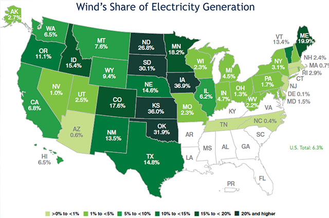 2017 Wind Share of Electricity by State Map - Source AWEA