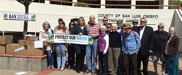 Members of Coalition to Protect SLO County Delivering Protect Our Water Initiative Signatures to San Luis Obispo County Courthouse